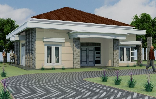 desain rumah type 36 72 3 kamar di lombok